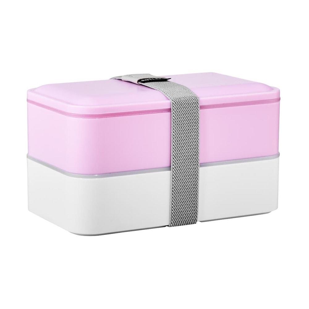 SNACK PACK Svačinový box včetně příboru - sv. růžová/bílá