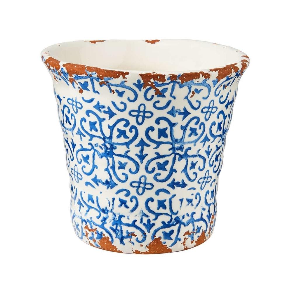 TERRACOTTA Květináč vzorovaný 13 cm - modrá