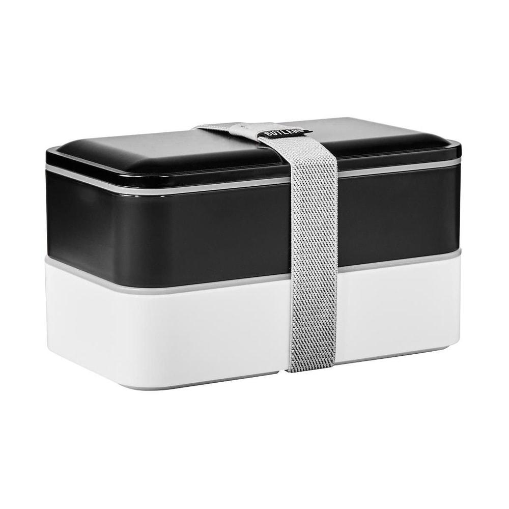 SNACK PACK Svačinový box včetně příboru - černá/bílá