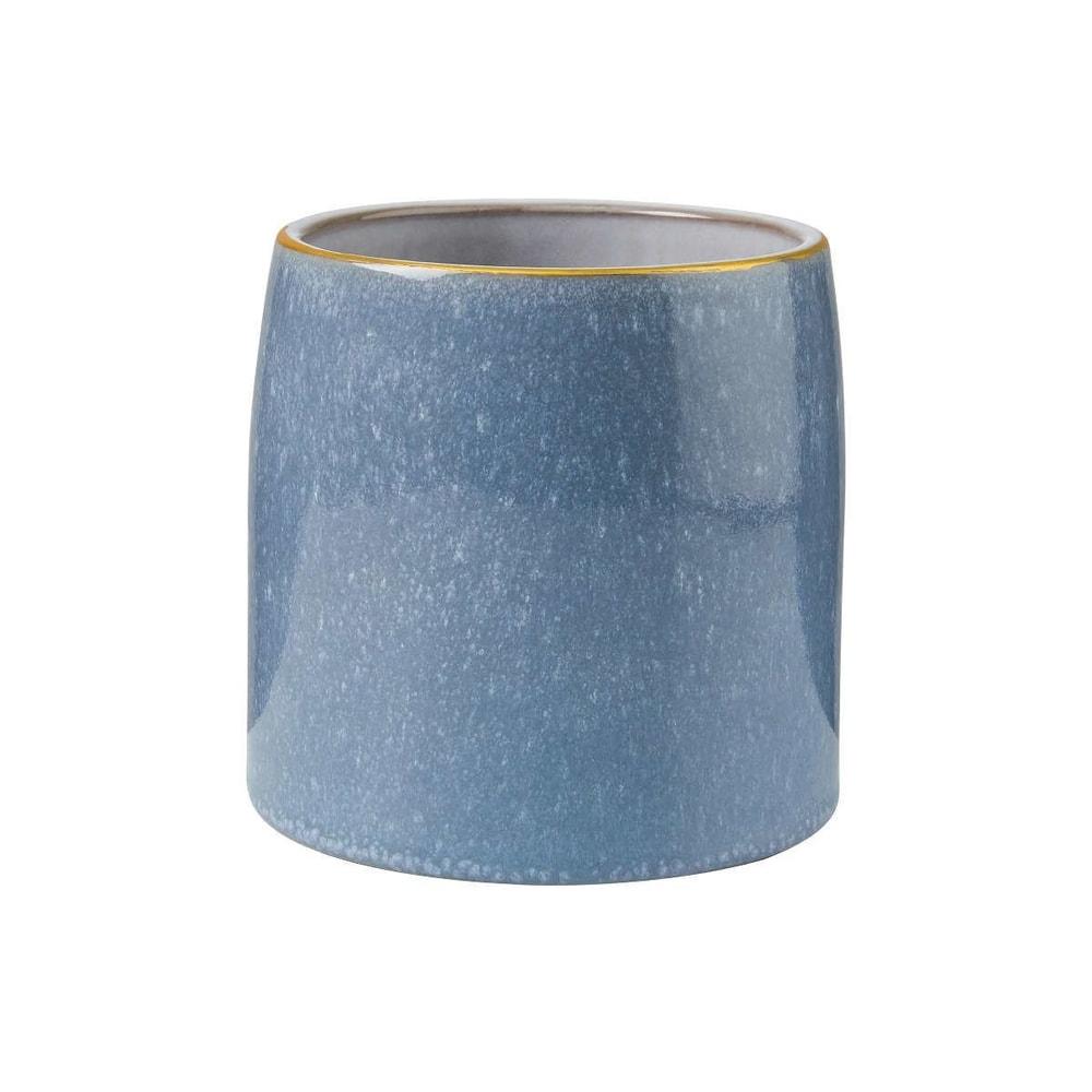 FLORA Květináč se zlatým okrajem 13 cm - modrá