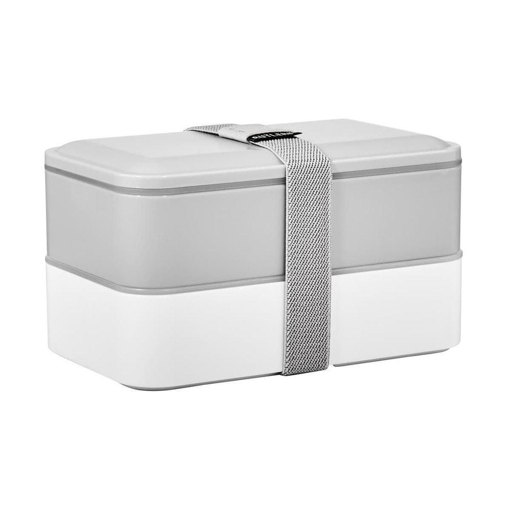 SNACK PACK Svačinový box včetně příboru - šedá/bílá