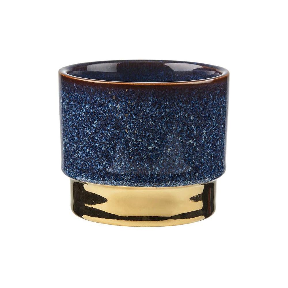 GOLDEN TOUCH Květináč 10 cm - modrá/zlatá