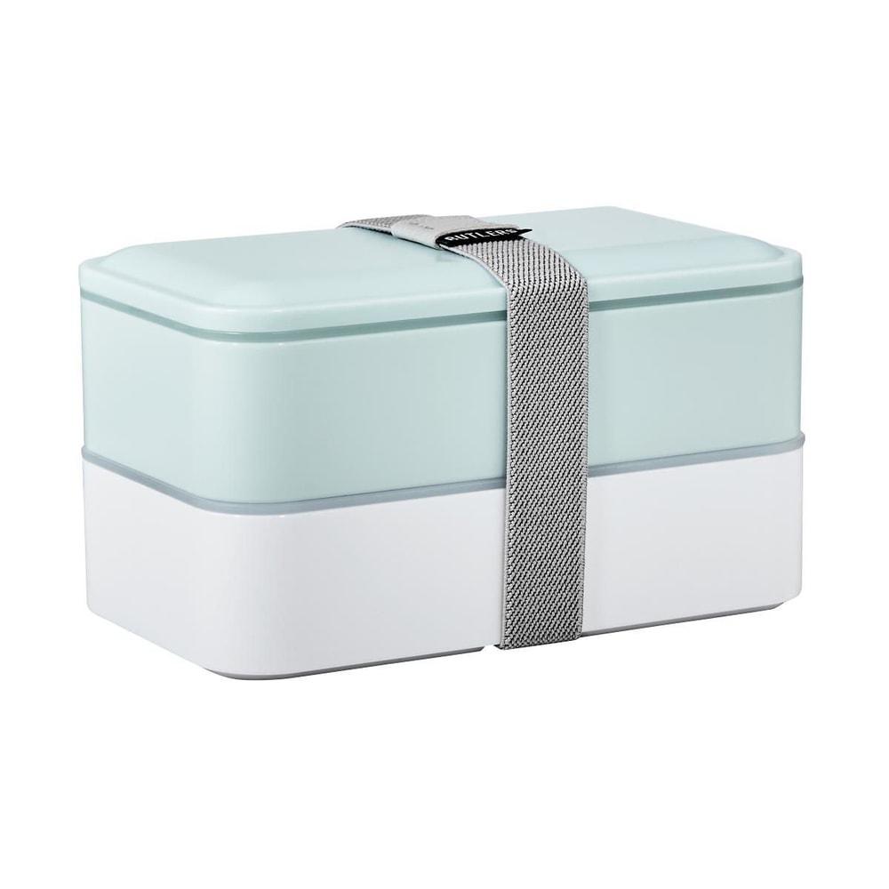 SNACK PACK Svačinový box včetně příboru - sv. modrá/bílá