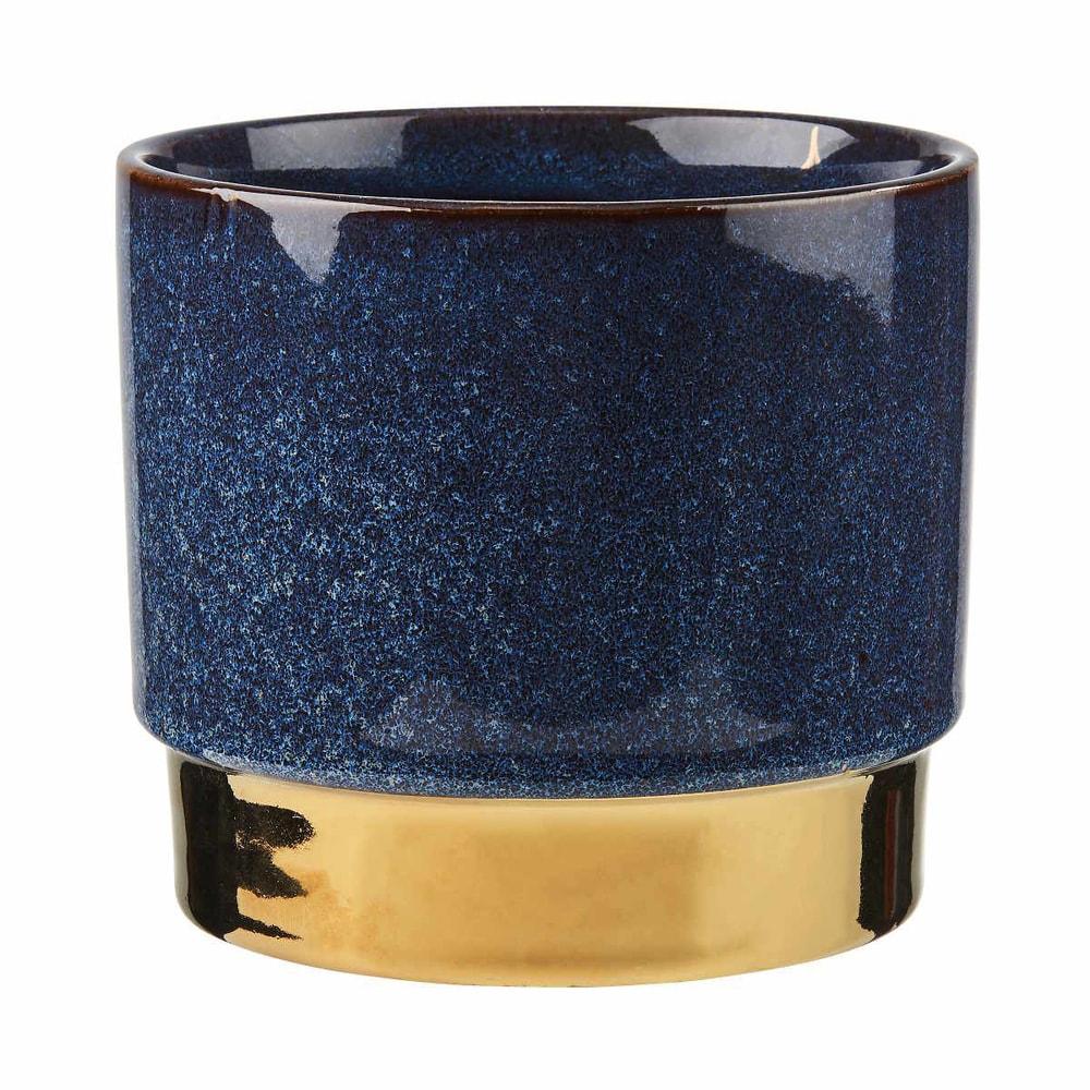 GOLDEN TOUCH Květináč 15 cm - modrá/zlatá