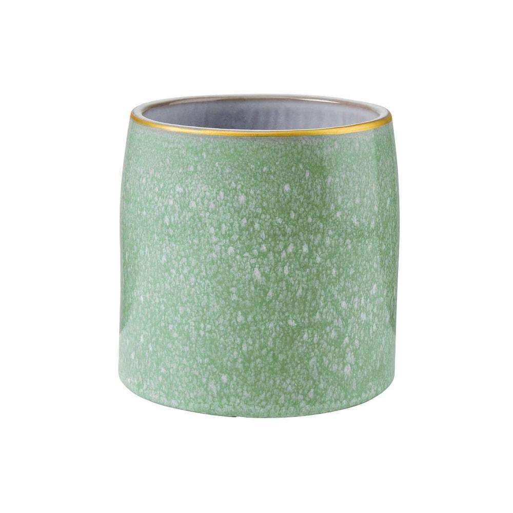 FLORA Květináč se zlatým okrajem 13 cm - zelená