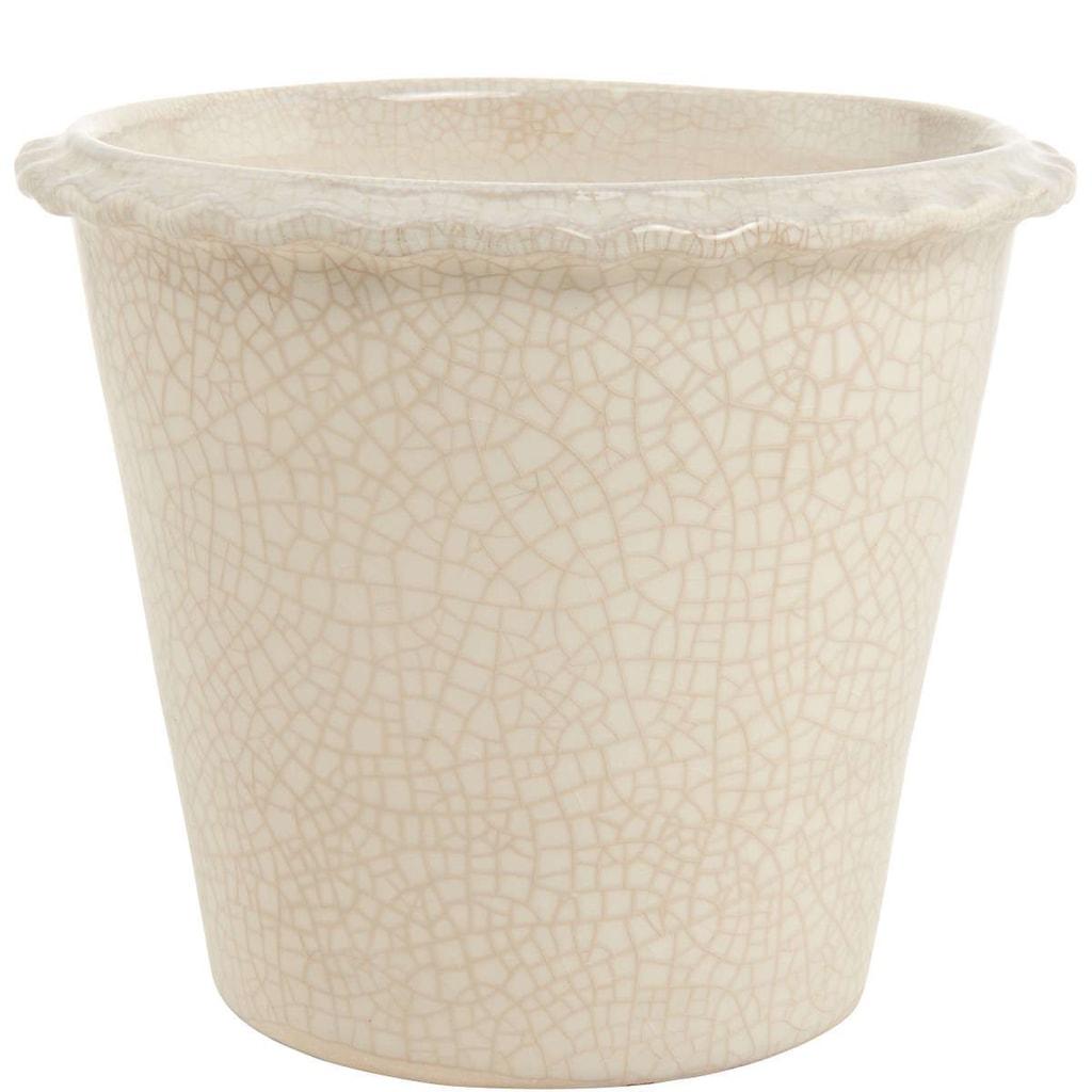 GLAZE Květináč 16 cm - bílá/béžová