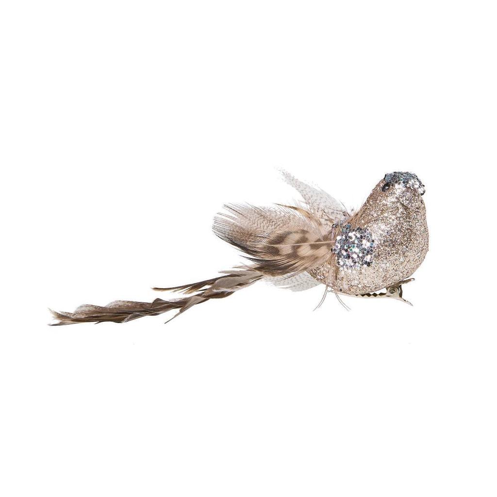 PEACOCK Ptáček se třpytkami a klipem 14 cm - stříbrná