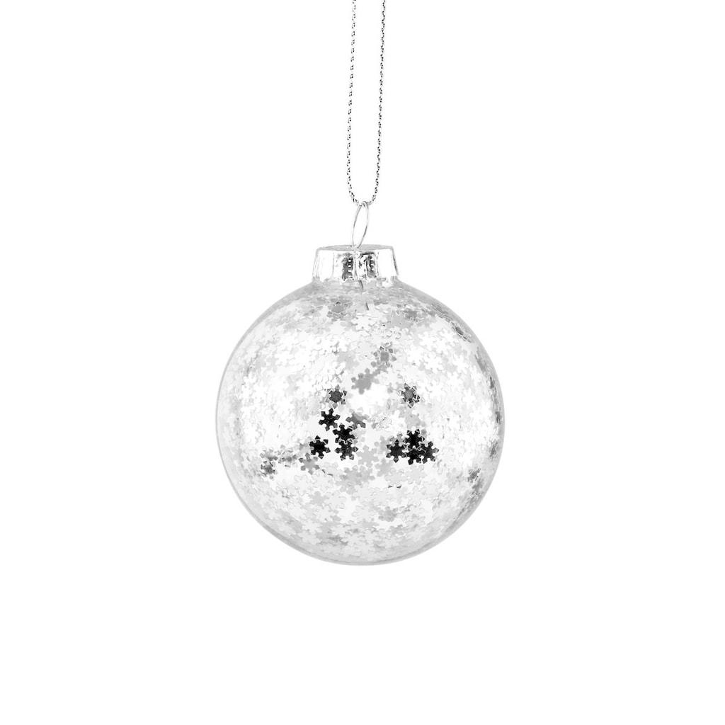 HANG ON Skleněná koule hvězda 6 cm - stříbrná