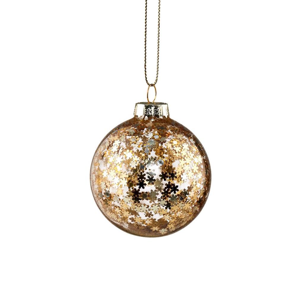 HANG ON Skleněná koule hvězda 6 cm - zlatá