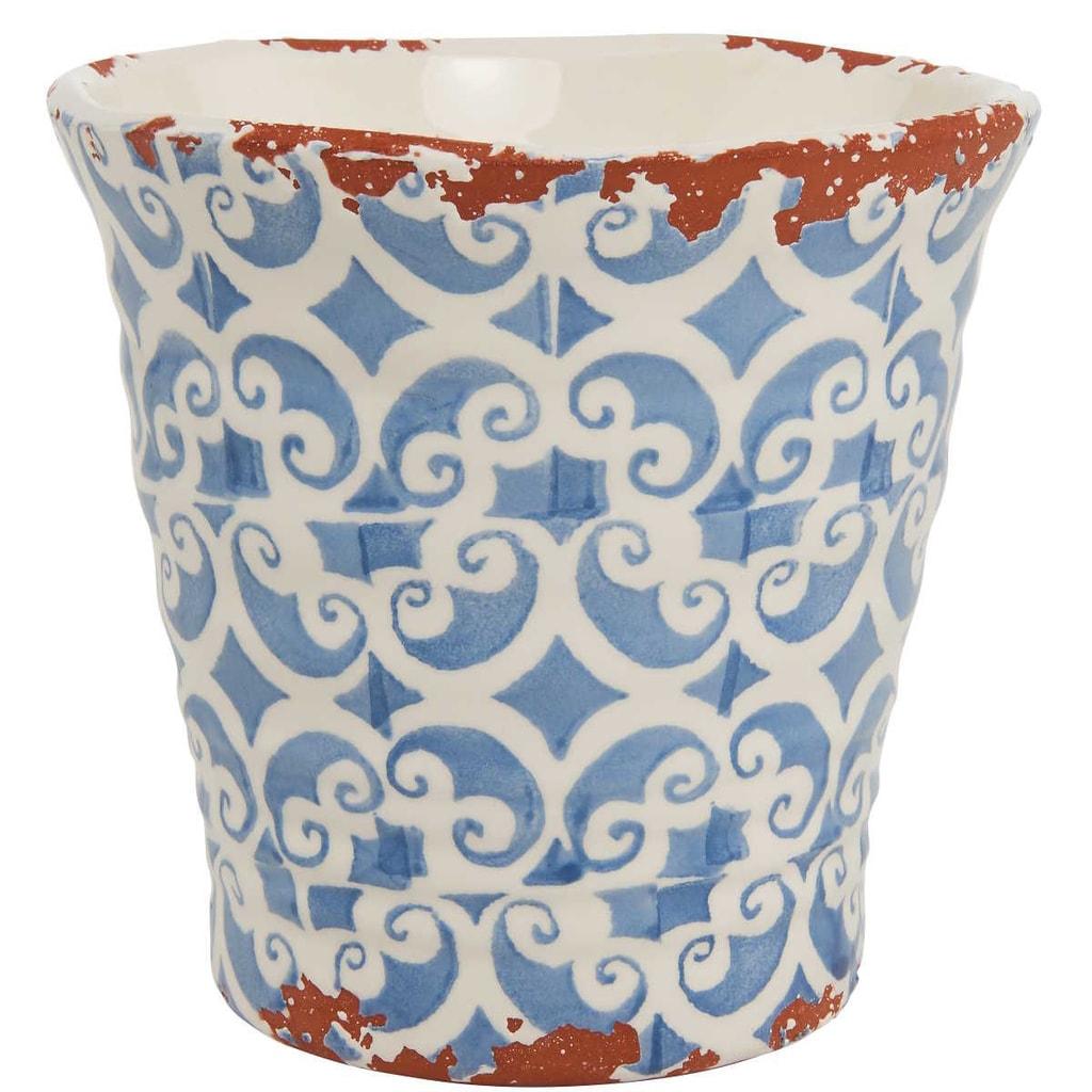 TERRACOTTA Květináč 14 cm - bílá/modrá