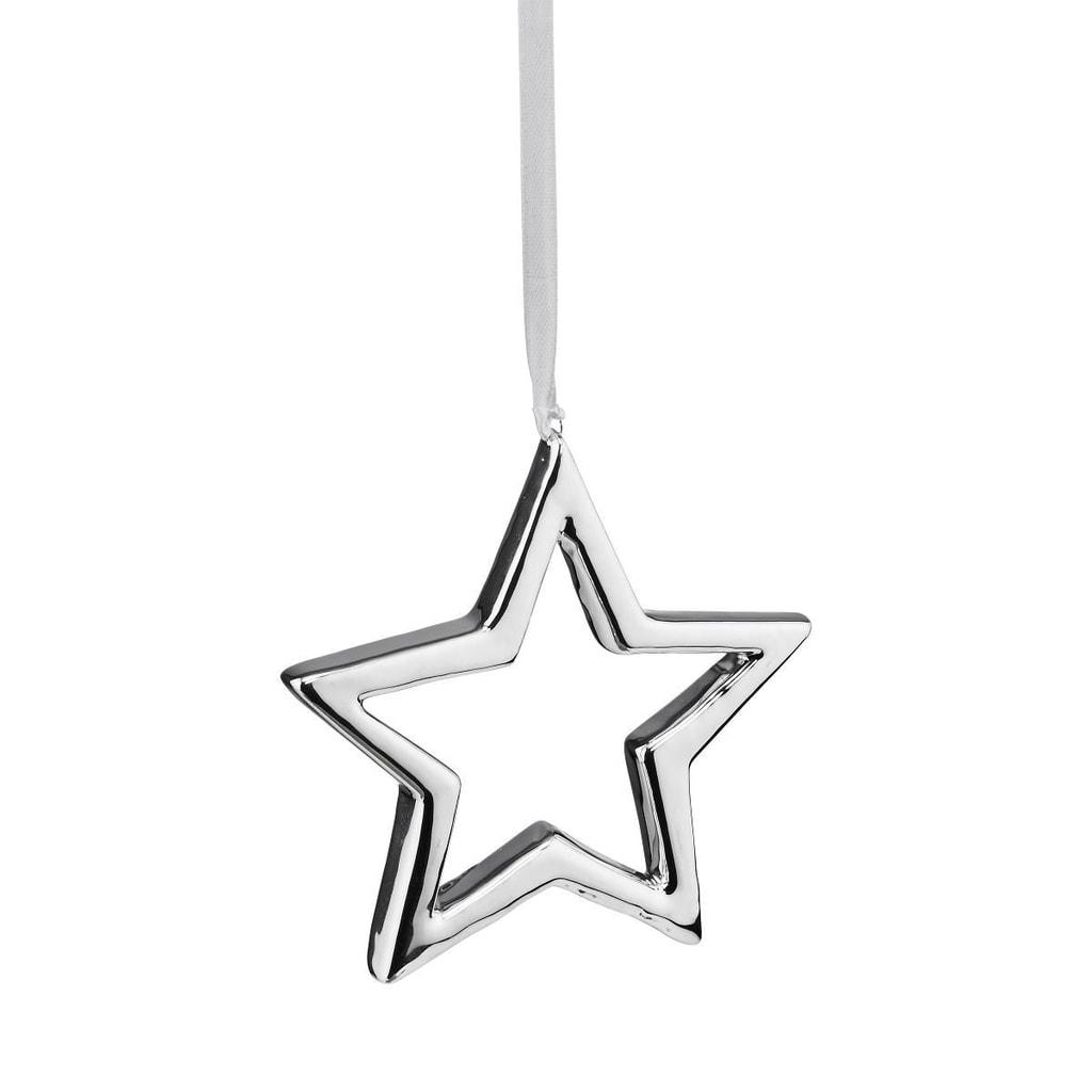 Fotografie HANG ON Ozdoba keramická hvězda 10 cm - stříbrná