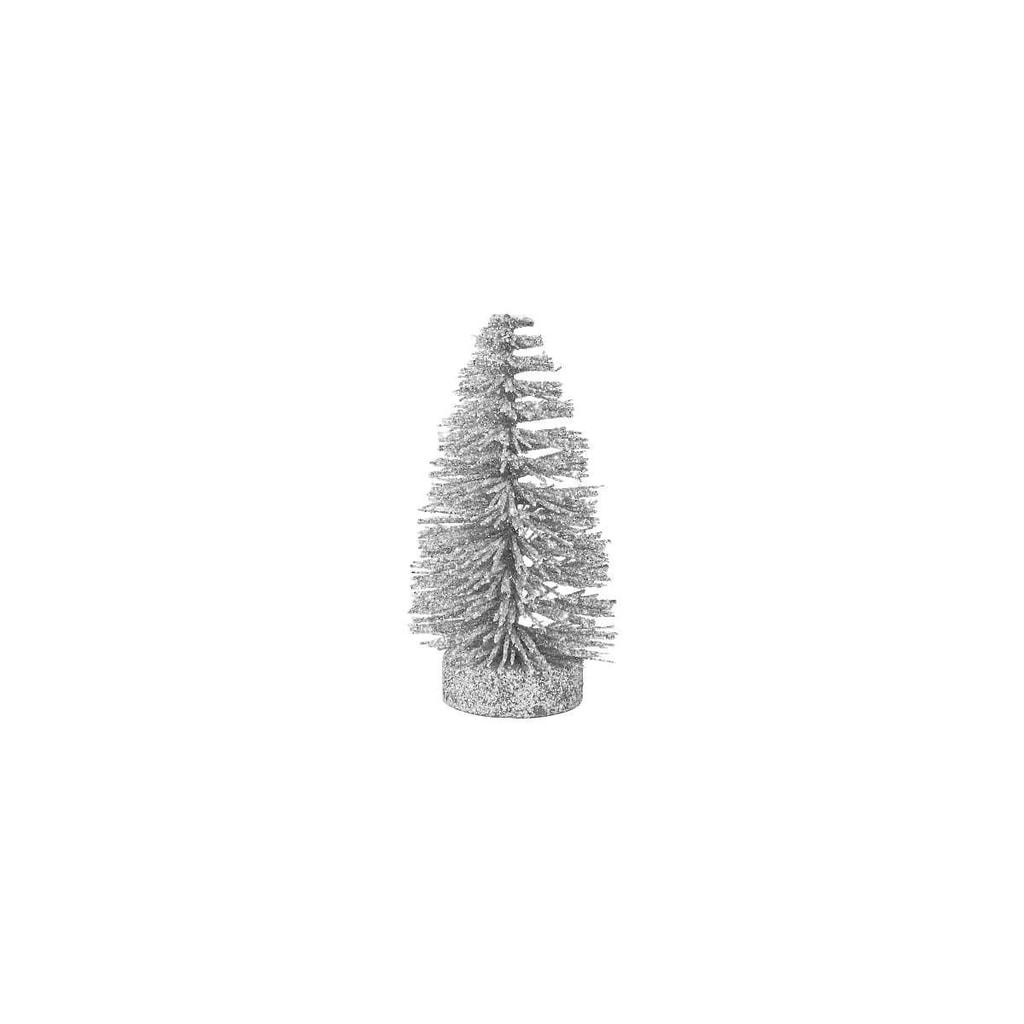 X-MAS Stromeček třpytivý 12 cm - stříbrná