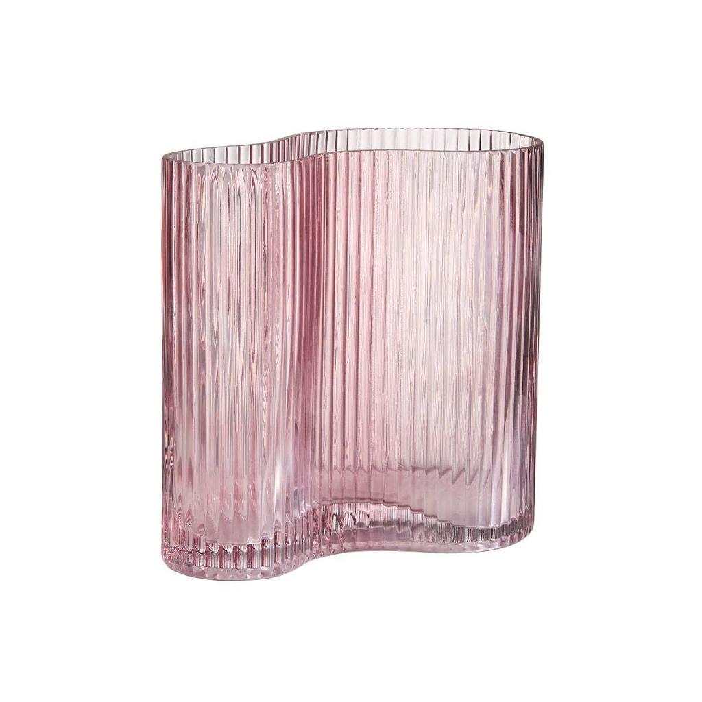 AVERY  Váza prohnutá 18 cm - sv. růžová