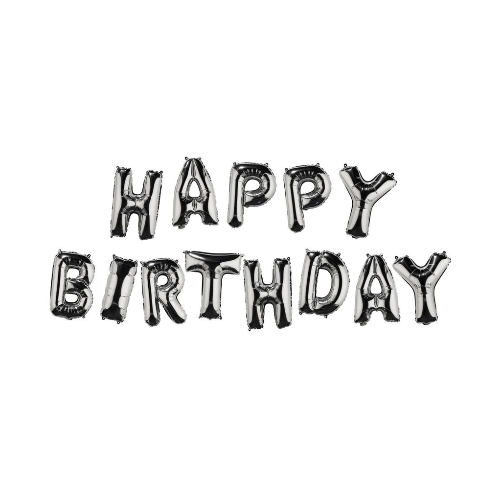 UPPER CLASS Fóliový balónek Happy Birthday - stříbrná