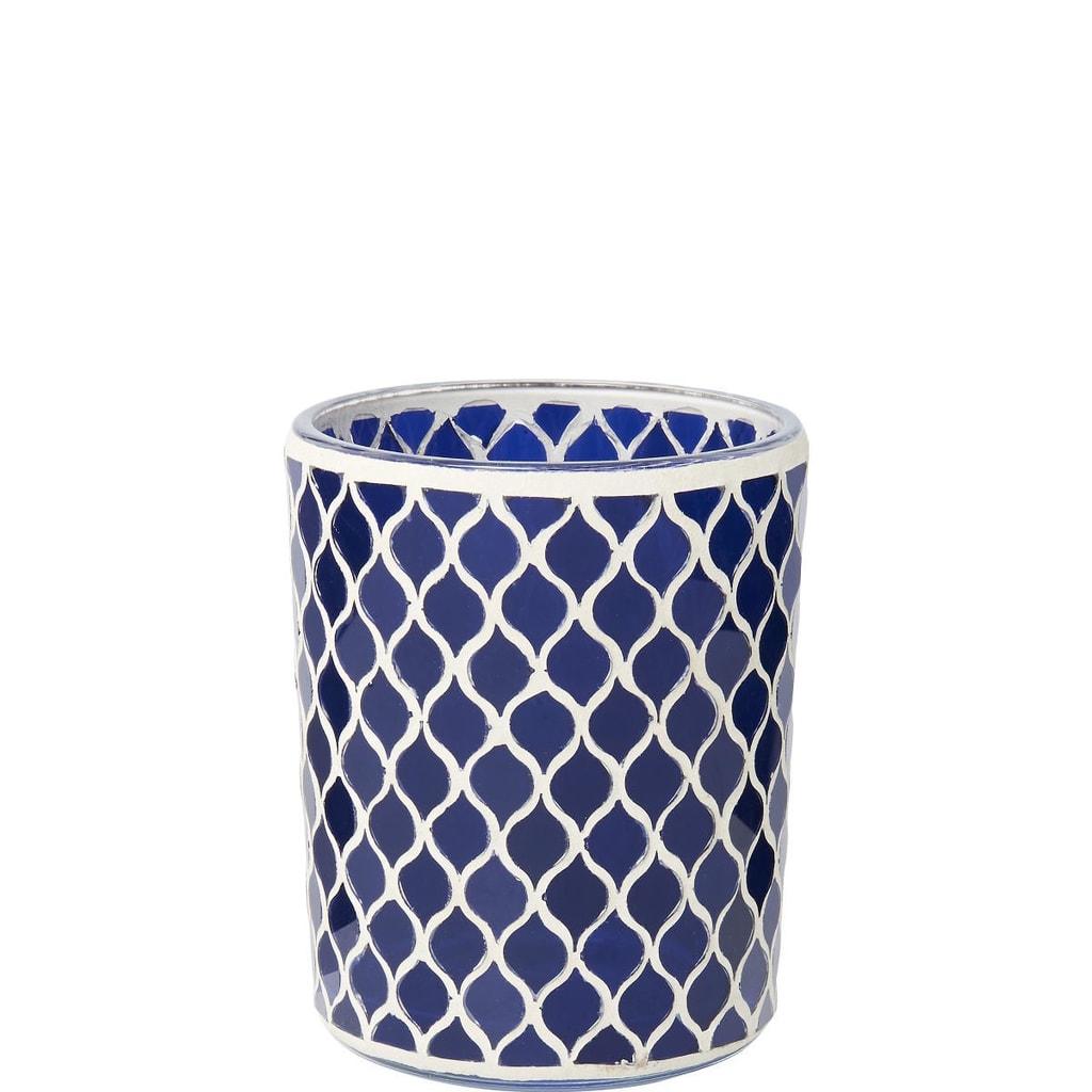 DELIGHT Svícen 12 cm - modrá/bílá