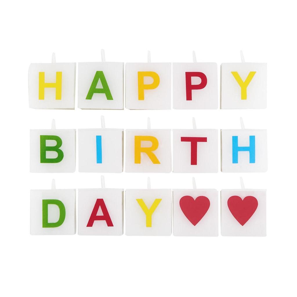 LOVE LETTERS Svíčka Happy Birthday 15 dílů