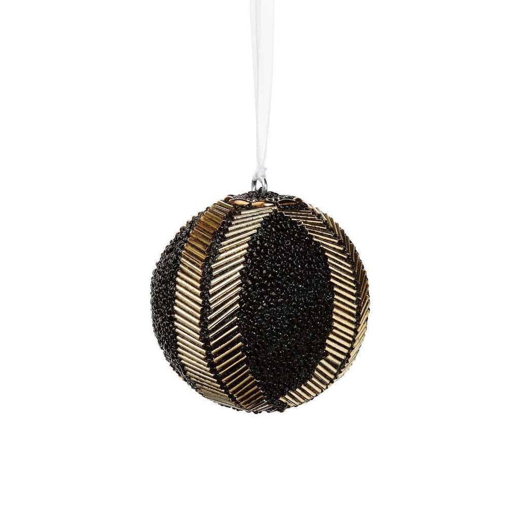 HANG ON Ozdoba vánoční koule s perlami 8 cm - černá