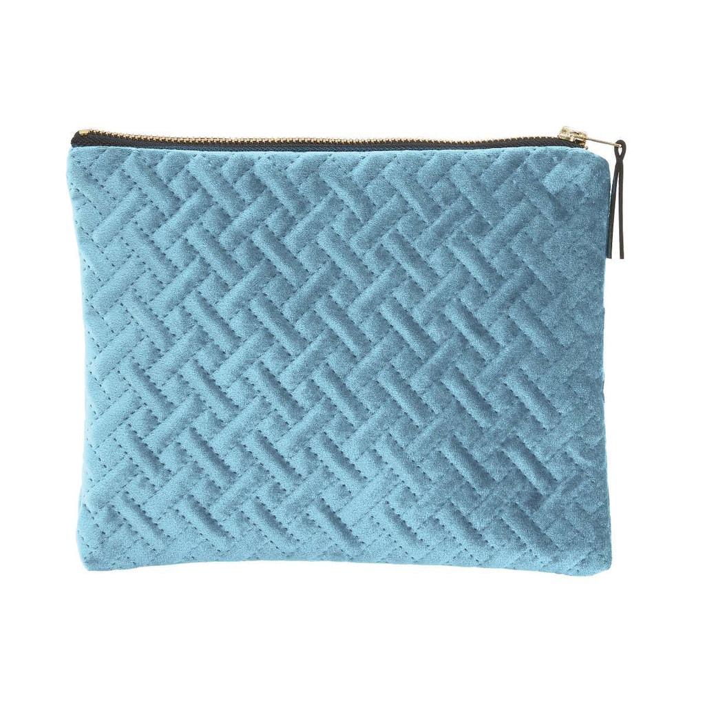 VOGUE Sametová kosmetická taška strukturovaná - sv. modrá