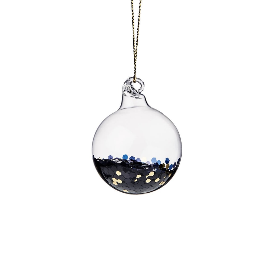 HANG ON Ozdoba vánoční koule se třpytkami 4 cm - modrá