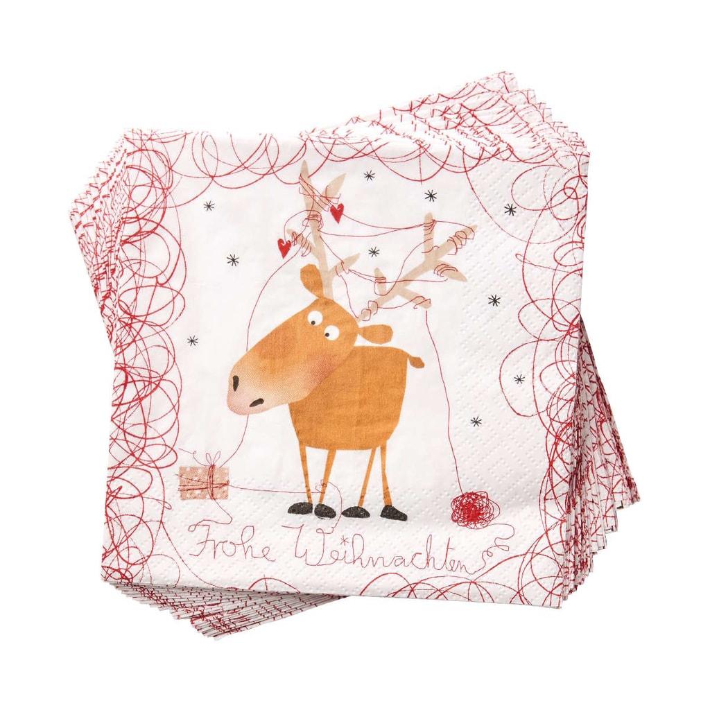 APRÉS Papírové ubrousky vánoční sob Elmar