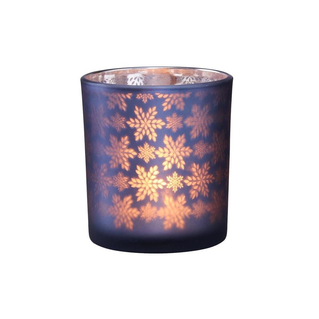 DELIGHT Svícen na čajovou svíčku sněhová vločka - modrá