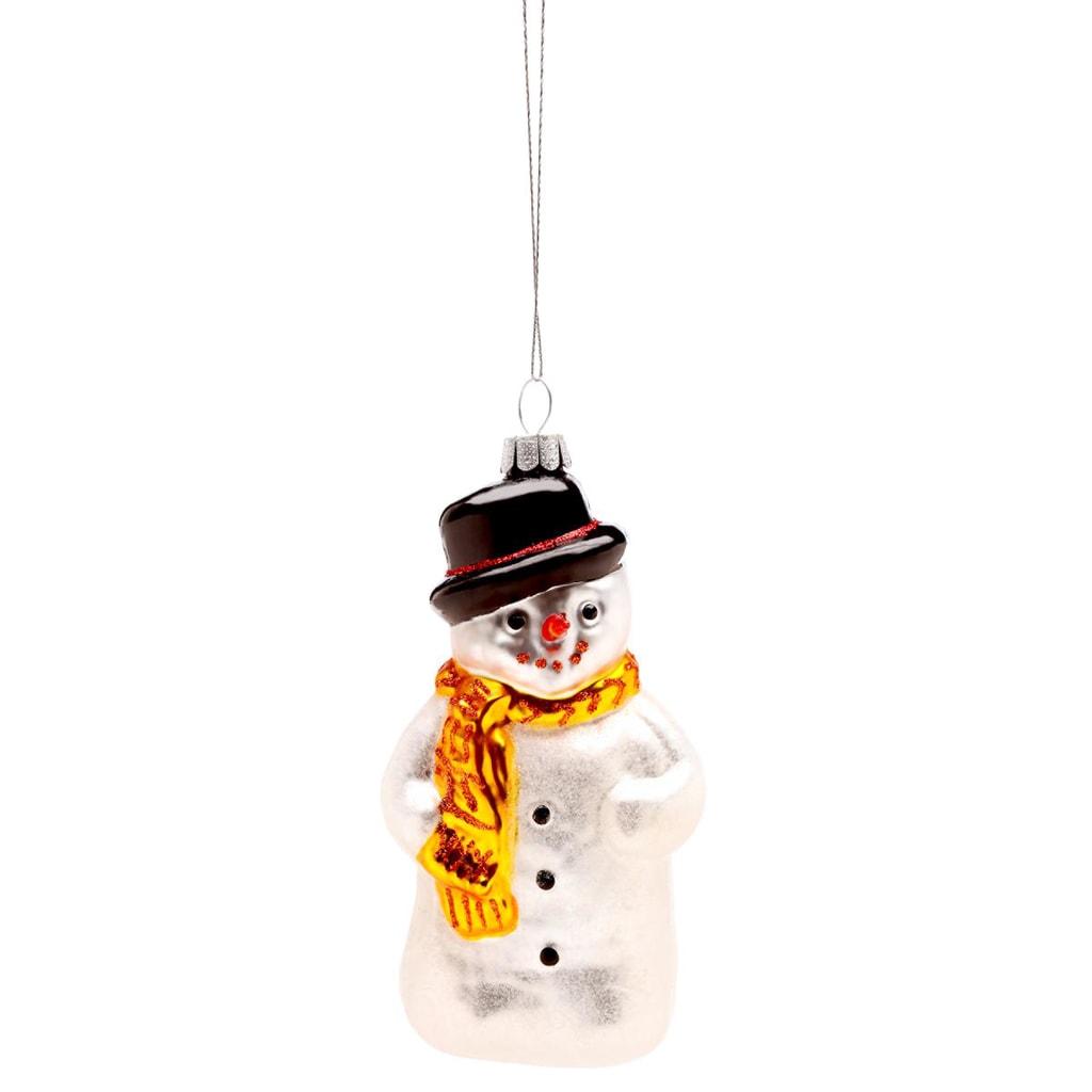 HANG ON Ozdoba sněhulák s šálou a kloboukem 8cm