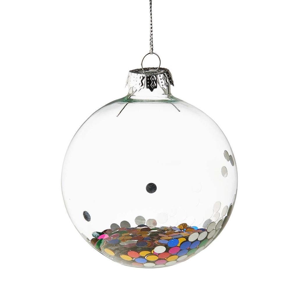 HANG ON Ozdoba vánoční koule konfety 8 cm