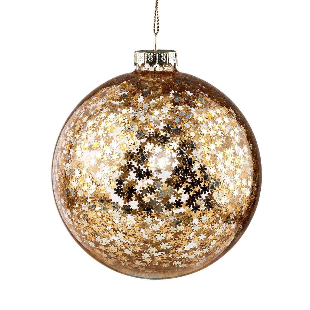 HANG ON Skleněná koule hvězdy 10 cm - zlatá