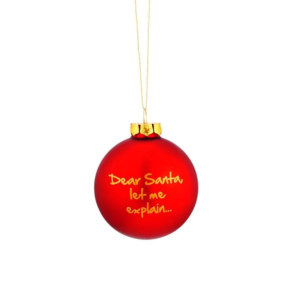 """NAUGHTY BAUBLES Skleněná ozdoba """"Dear Santa ..."""""""