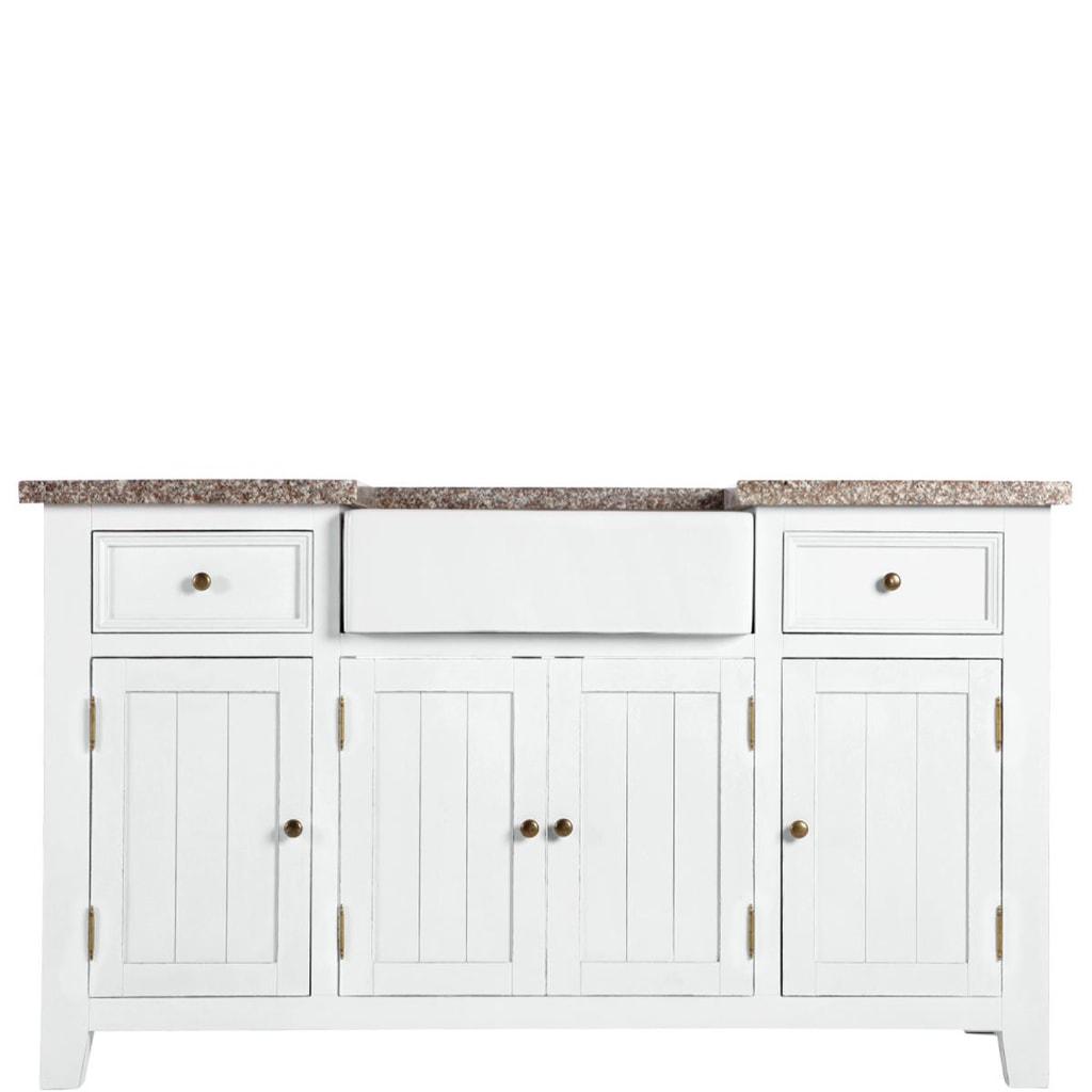 MAPLE HILL Kuchyňská skříň s žulovou deskou a dřezem
