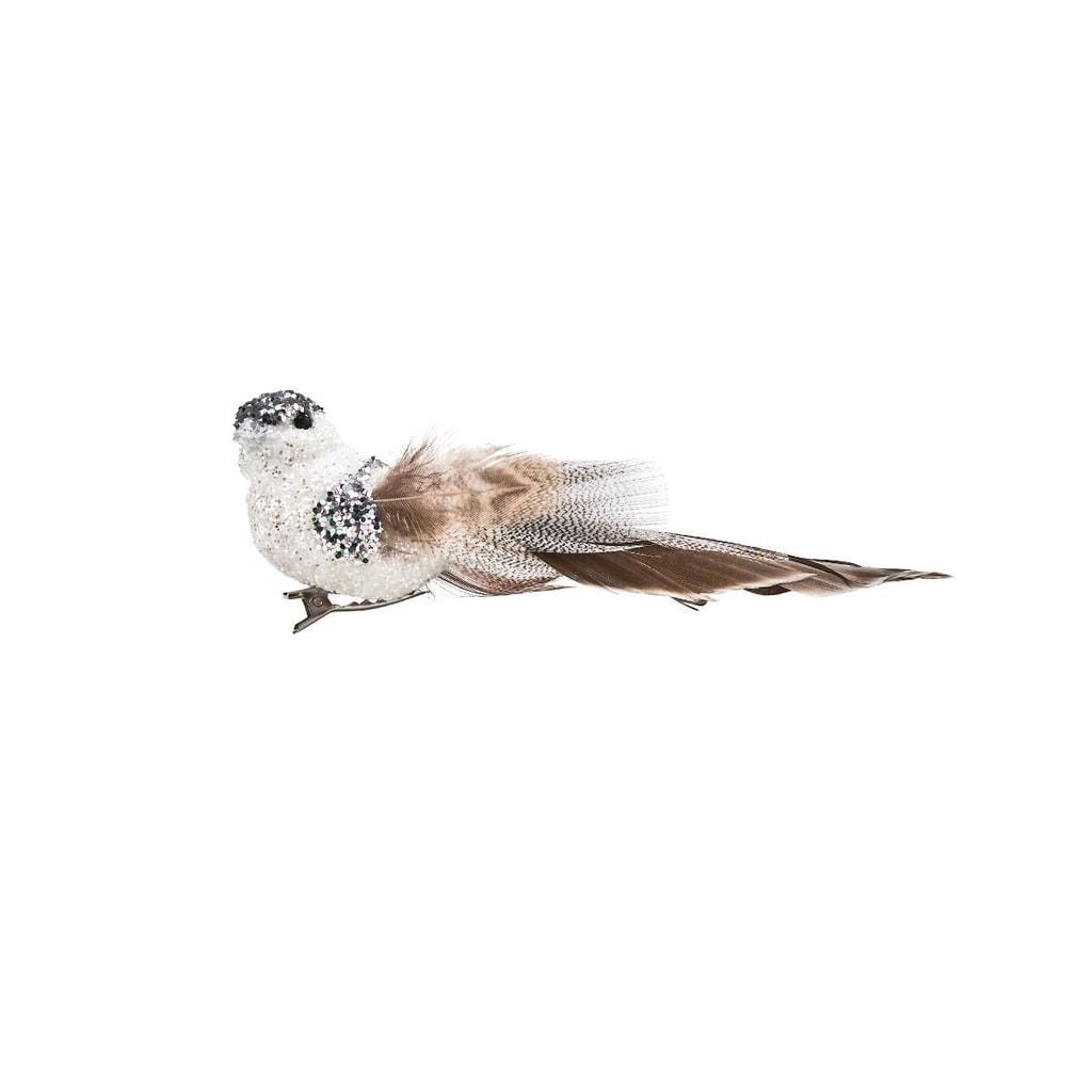 PEACOCK Ptáček se třpytkami a klipem 14 cm - bílá