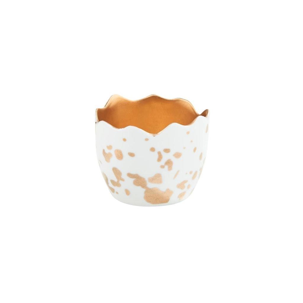 EASTER Svícen na čajovou svíčku vejce - bílá/zlatá