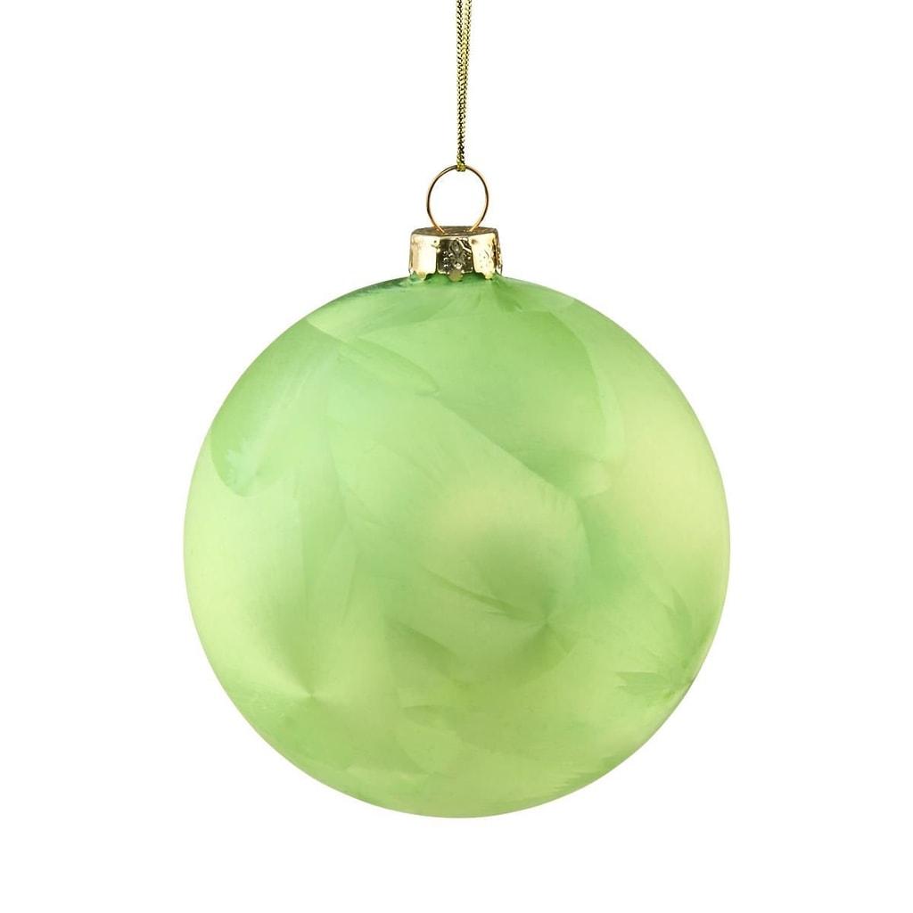 HANG ON Skleněná koule ojíněná 8 cm - zelená