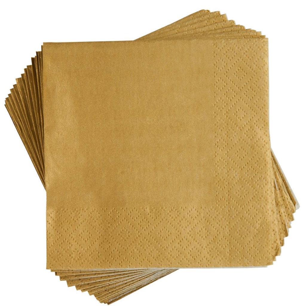 APRÉS Papírové ubrousky koktejlové - zlatá