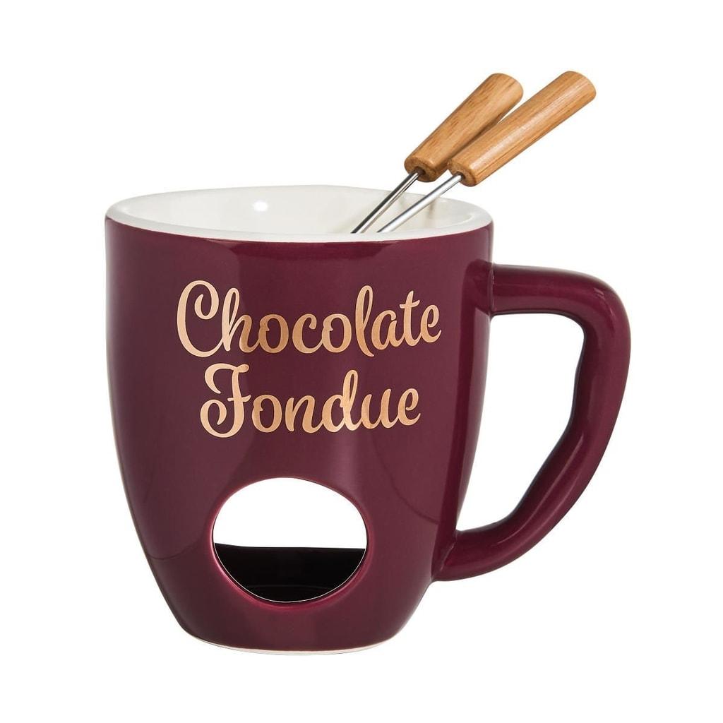 CHOCOLATE FONDUE Hrnek se 2 vidličkami - fialová