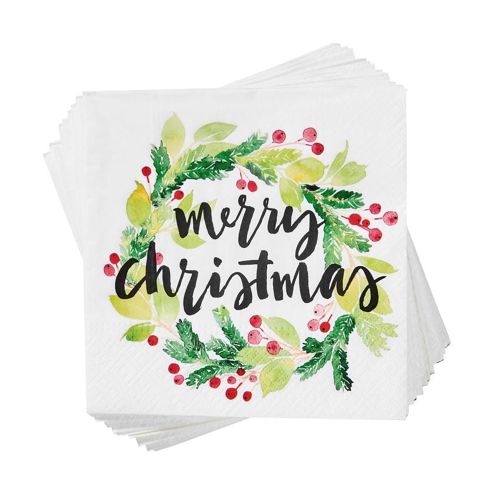 """APRÉS Papírové ubrousky """"Merry Christmas"""" 20 ks - zelená"""