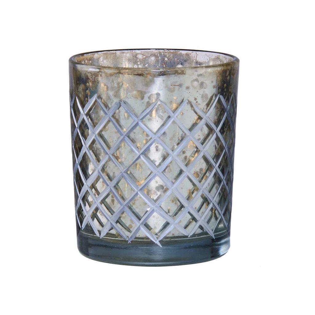 DELIGHT Svícen na čajovou svíčku diamantové broušení - velký