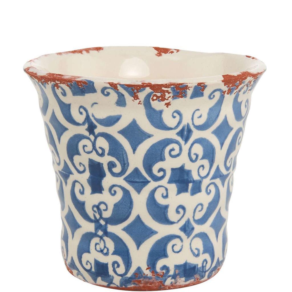 TERRACOTTA Květináč 13 cm - bílá/modrá