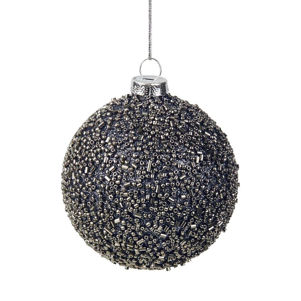 HANG ON Ozdoba koule perlová 8 cm - modrá