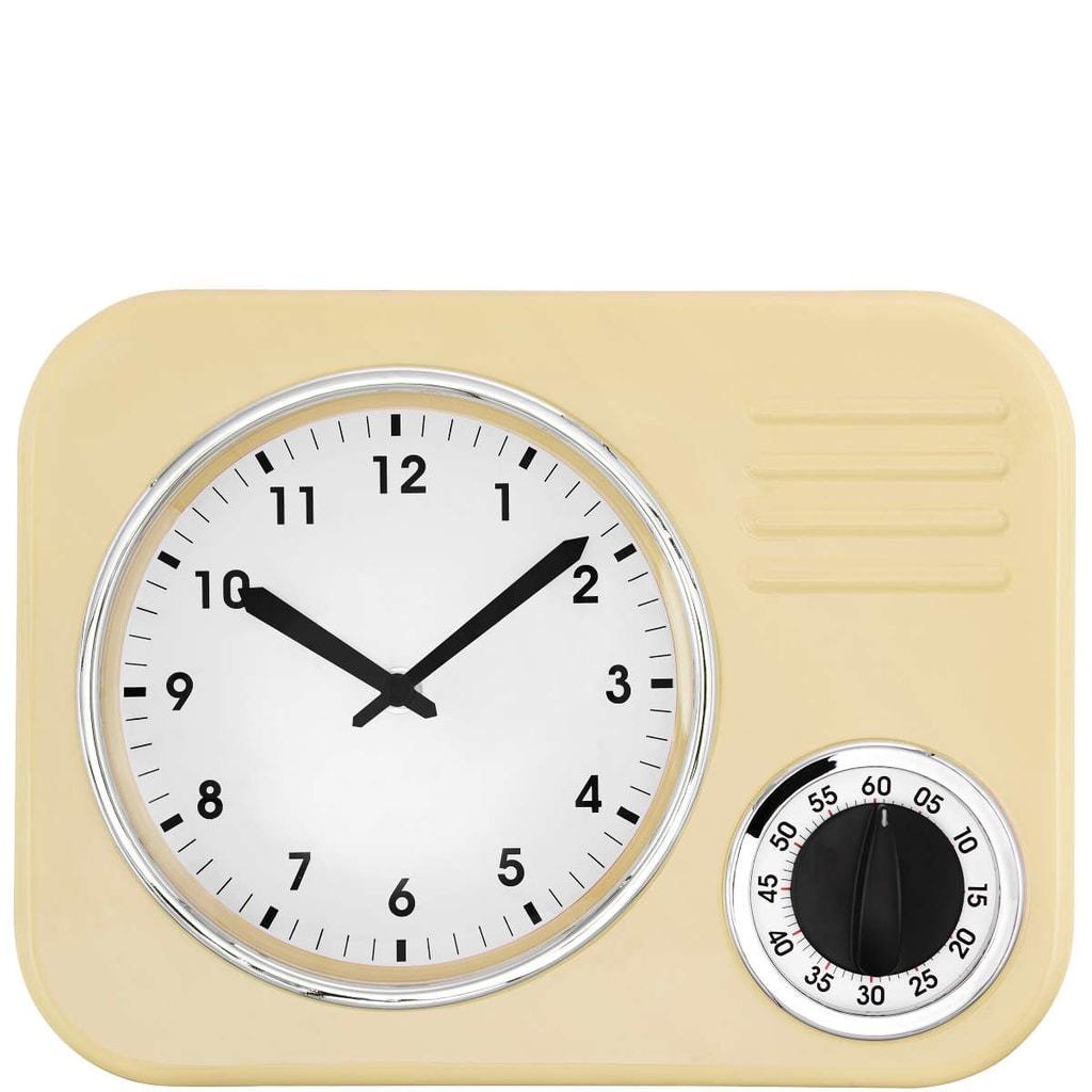 FIFTIES FOREVER Kuchyňské hodiny - žlutá