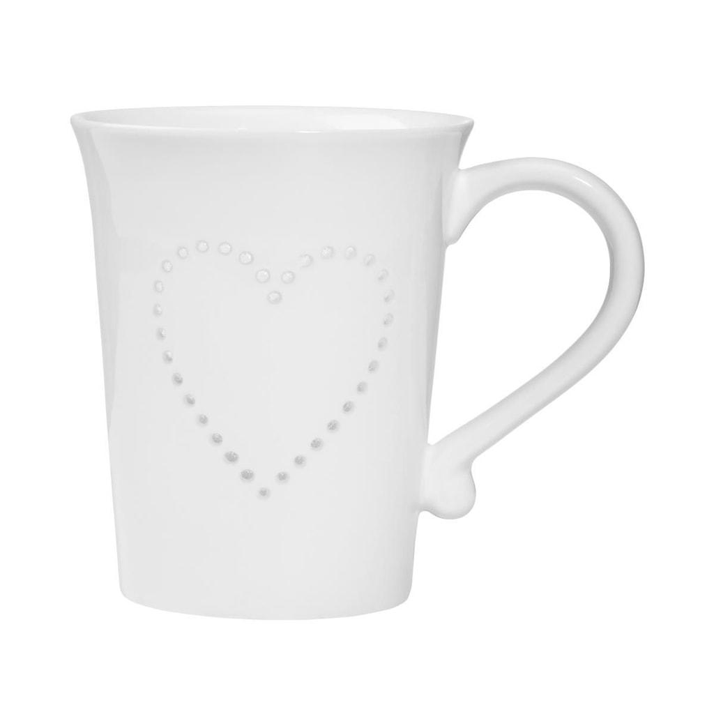 WHITE XMAS Hrnek s průhledným vzorem srdce 400 ml