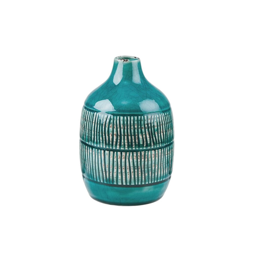 JARRON Váza keramická proužky 15,6 cm