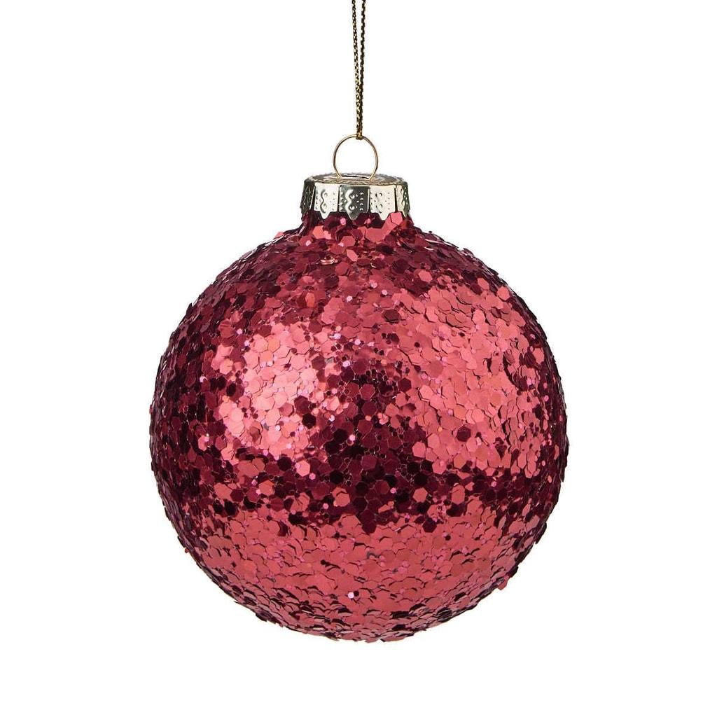 HANG ON Ozdoba vánoční koule se třpytkami 8 cm - bordó