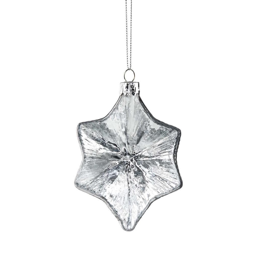 HANG ON Ozdoba hvězda 10 cm - bílá/stříbrná