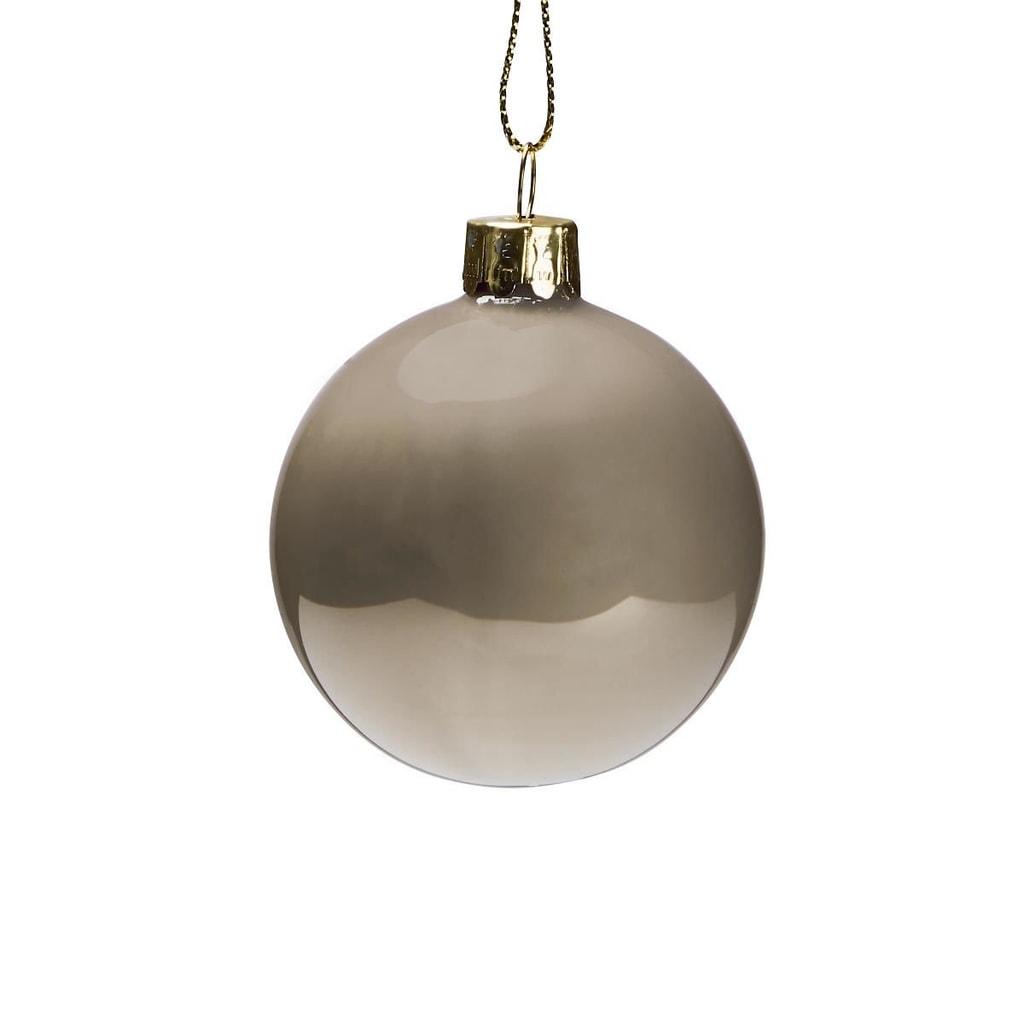 HANG ON Skleněná koule putníky 6 cm - šedá/bílá
