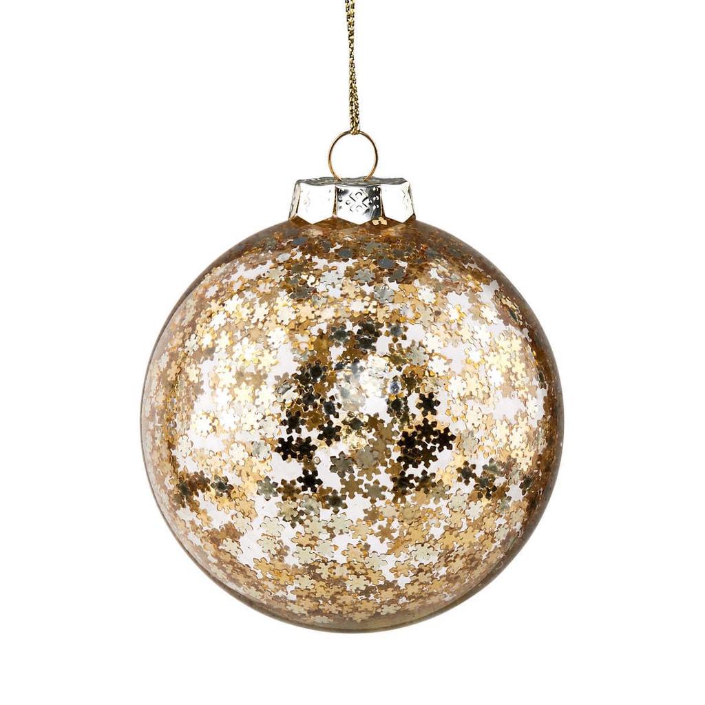 HANG ON Skleněná koule hvězdy 8 cm - zlatá