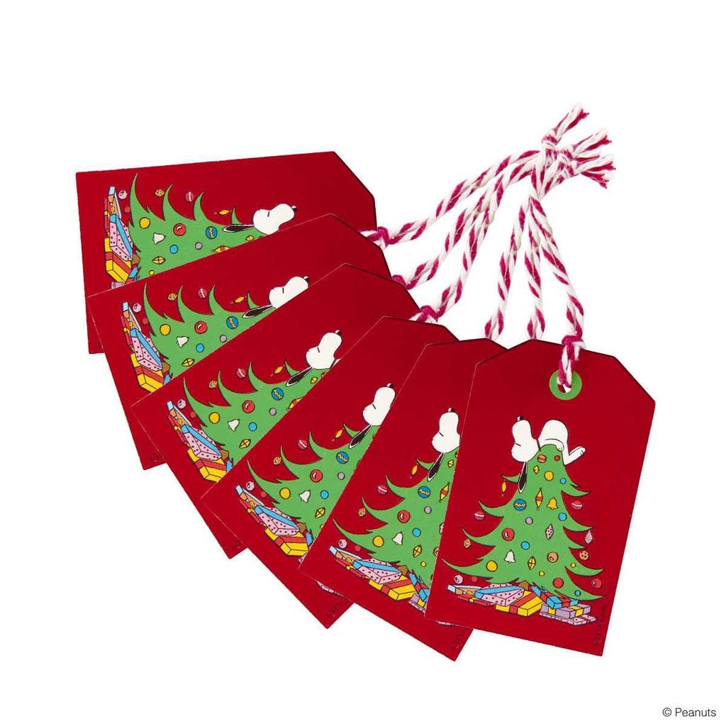 PEANUTS Jmenovka na dárky Snoopy na stromě set 6 ks