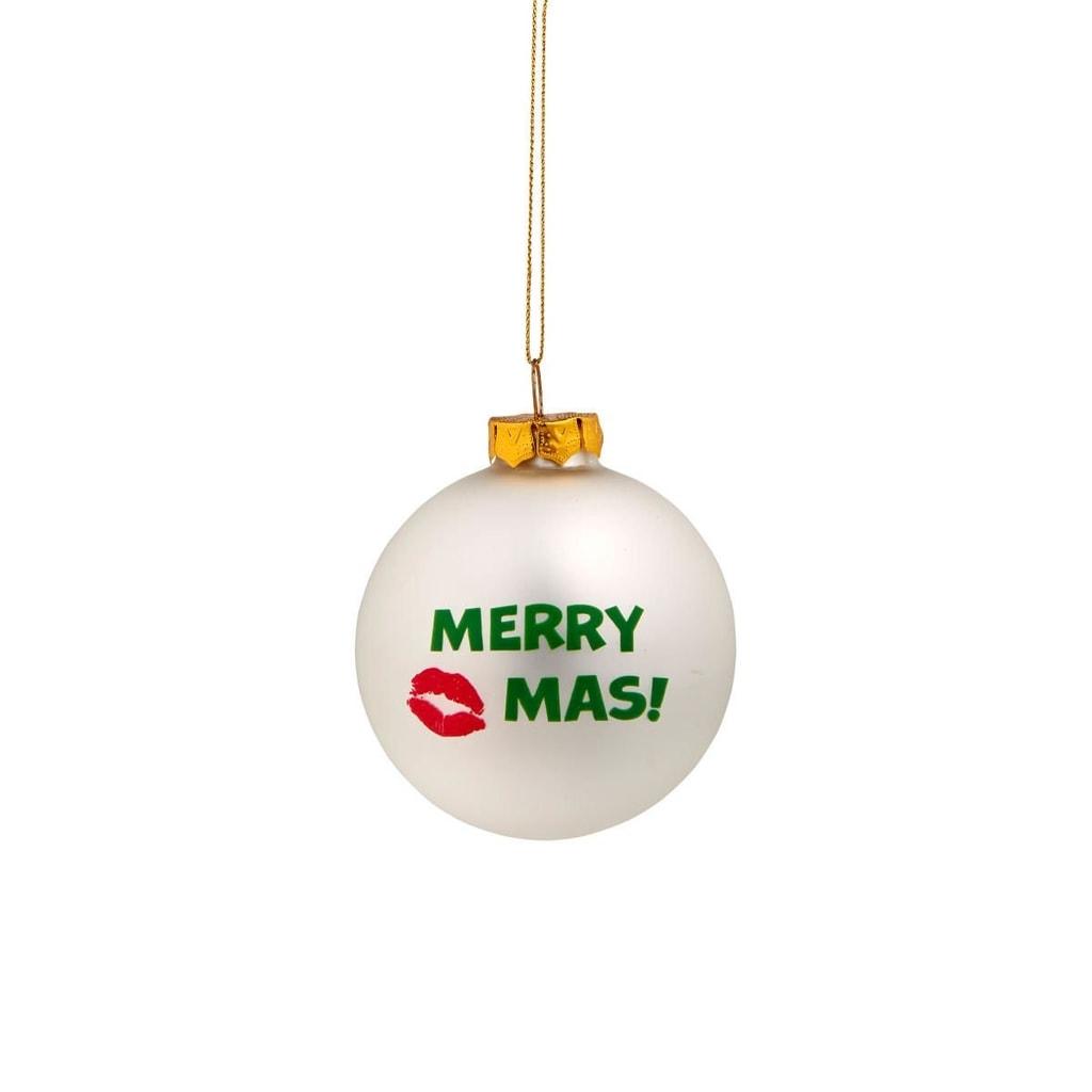 """NAUGHTY BAUBLES Skleněná ozdoba """"Merry Kiss..."""""""