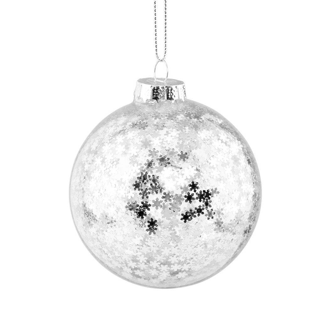 HANG ON Skleněná koule hvězdy 8 cm - stříbrná