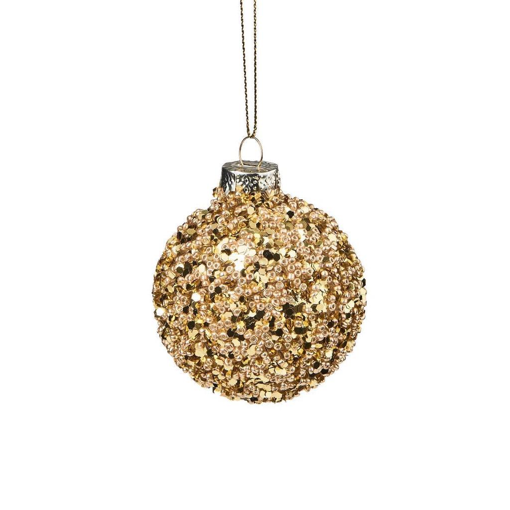 HANG ON Ozdoba vánoční koule s perlami 6 cm - zlatá